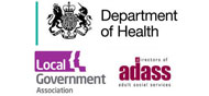 Logos for Department of Health in partnership with the Local Government Association and Association of Directors of Adult Social Services