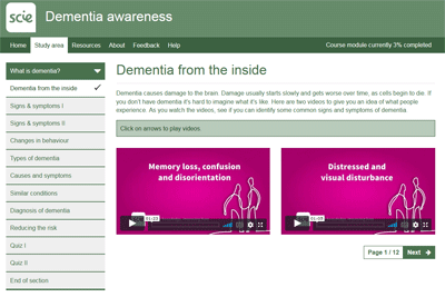 Screenshot of Dementia awareness course