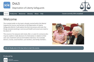 deprivation of liberty safeguards dols e learning course scie