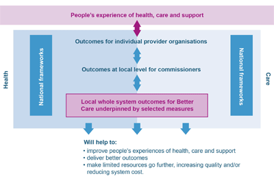 People's experience of health, care and support. Outcomes for individual provider organisations. Outcomes at local level for commissioners. Local whole system outcomes for Better Care underpinned by selected measures. Will help to, improve people's experiences of health, care and support, deliver better outcomes, and make limited resources go further, increasing quality and/or reducing system cost. All connected to national frameworks in health and care.