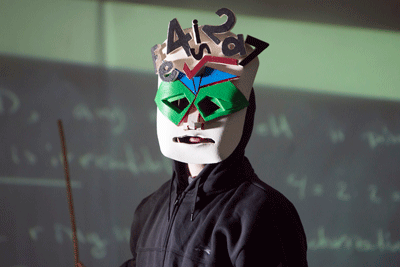 Young person wearing a mask