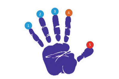 Graphic showing a palm of a hand