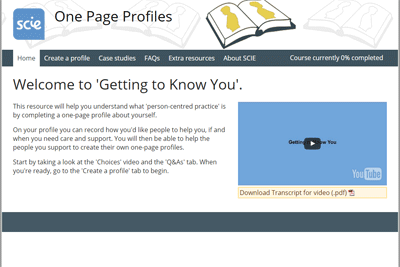 One page profiles e-learning