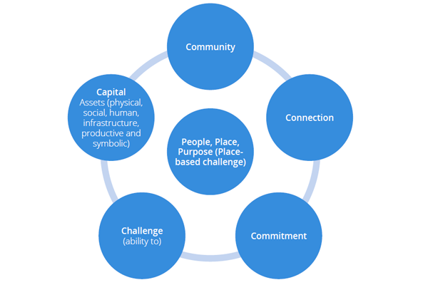 Chart showing People, Place, Purpose (Place-based challenge) which includes: Community, Connection, Commitment, Challenge (ability to), Capital (Assets: physical, social, human, infrastructure, productive and symbolic)