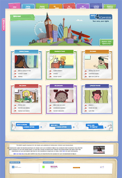 View of Info 4 Care Kids website home page