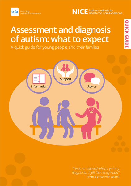 Cover of publication: Assessment and diagnosis of autism: what to expect